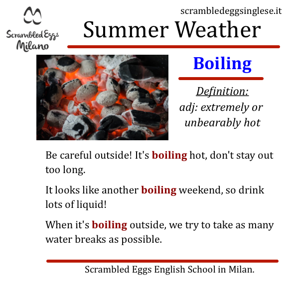 boiling hot caldo tempo estivo inglese