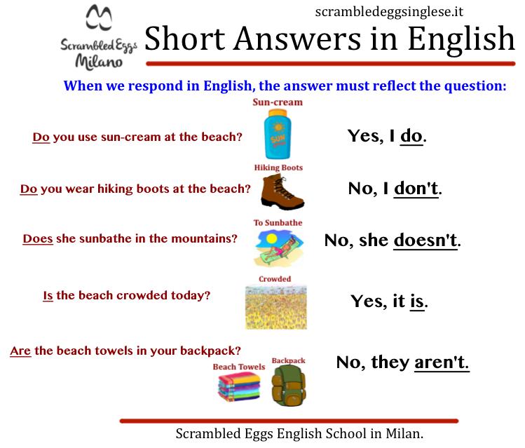 corsi inglese esercizi risposte brevi