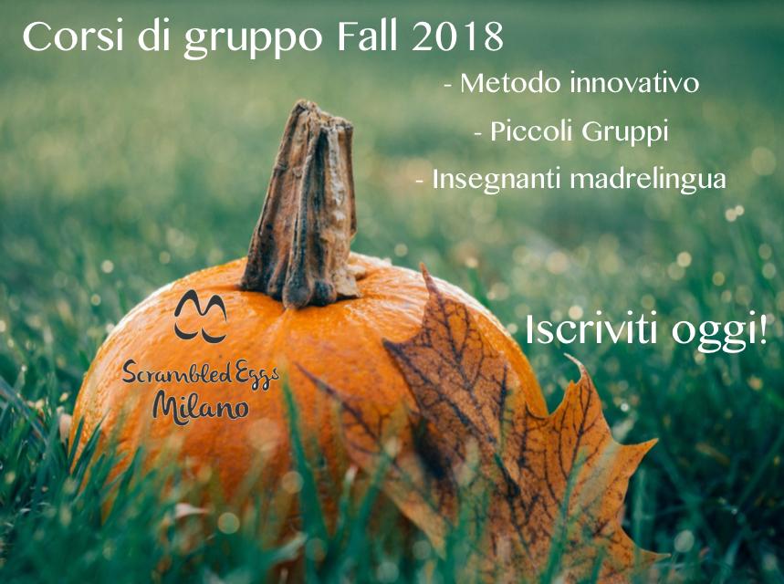 Nuovo corso di inglese di gruppo a Milano: Fall 2018