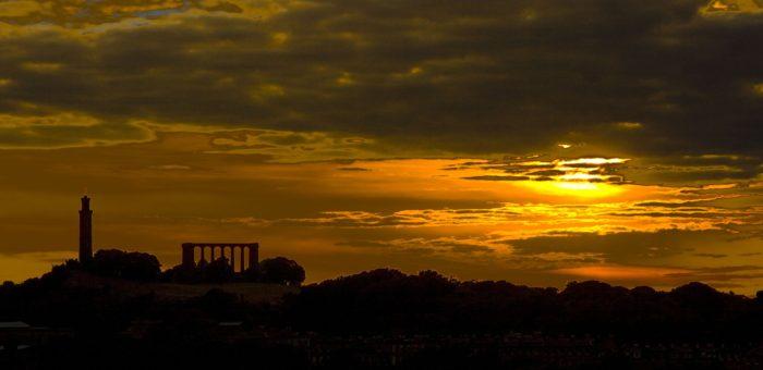Edinburgh skyline at sunset